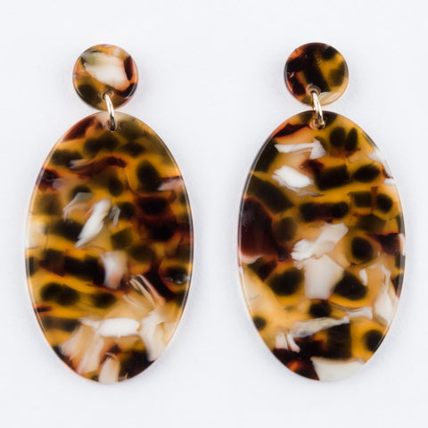 Gemma Earrings in Amber Tortoise - earrings - Sundara Mar local eclectic