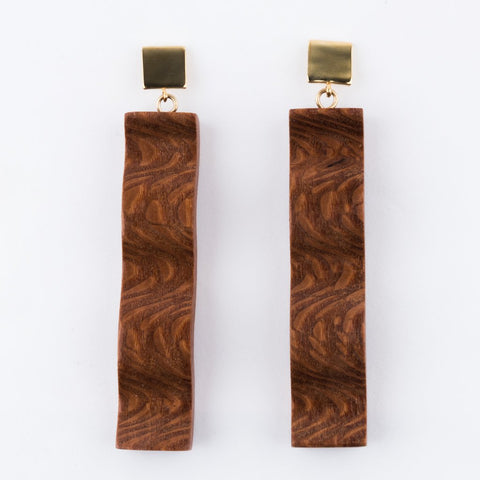Long Ripple Leopard Wood Earrings - earrings - Sophie Monet Jewelry local eclectic