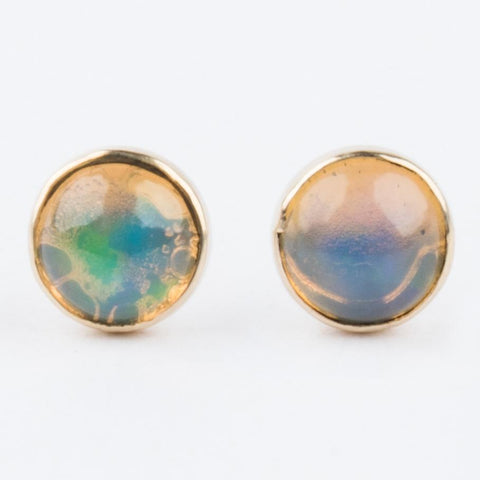 14K Yellow Gold Opal Stud Earrings - earrings - Emi Conner local eclectic