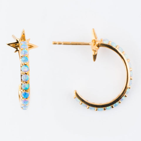 Opal Shooting Star Hoops - earrings - La Kaiser local eclectic