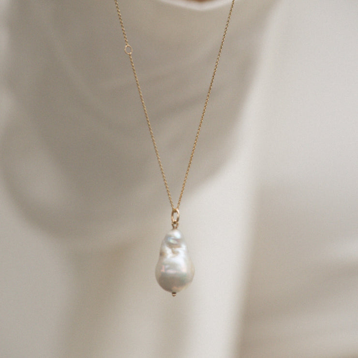 Solid Gold Organic Pearl Charm necklaces Family Gold