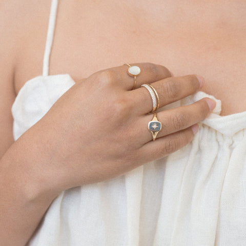 Solid Gold Mother of Pearl Slice Ring