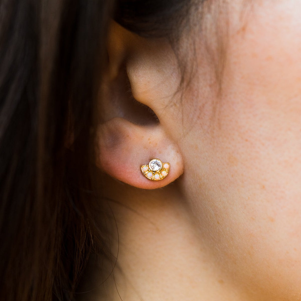 Desi Arc Earrings with CZ Center - earrings - Five and Two local eclectic