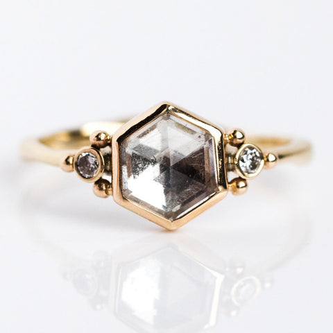 Clear Quartz Hexagon & Diamond Ring - rings - Emily Amey Jewelry local eclectic