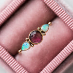 Rosecut Pink Tourmaline with Opal Ring - rings - Emily Amey Jewelry local eclectic