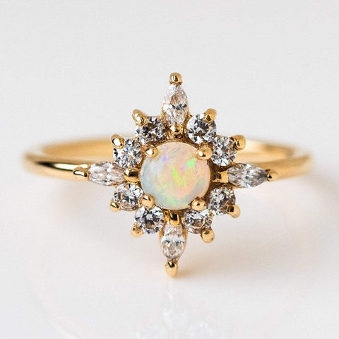 solid yellow gold opal diamond ring statement fine jewelry