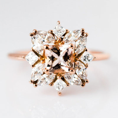 Jasmine Morganite Cluster Ring - rings - Emi Conner local eclectic