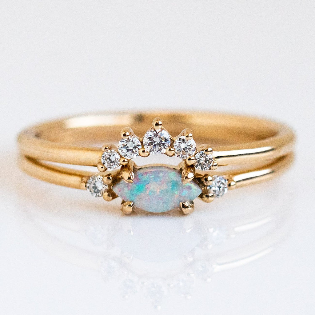 Australian Opal Diamond Stacking Ring Set Solid Yellow Gold Fine Dainty Jewelry