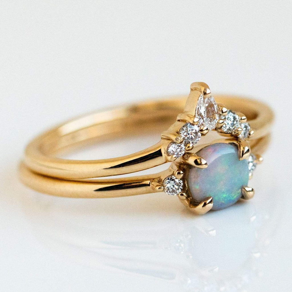 Delicate Australian Opal Diamond Crown Ring Set Solid Yellow Gold Fine Emi Conner