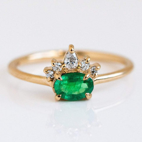 Emerald Diamond Crown Solid Yellow Gold Fine Dainty Ring