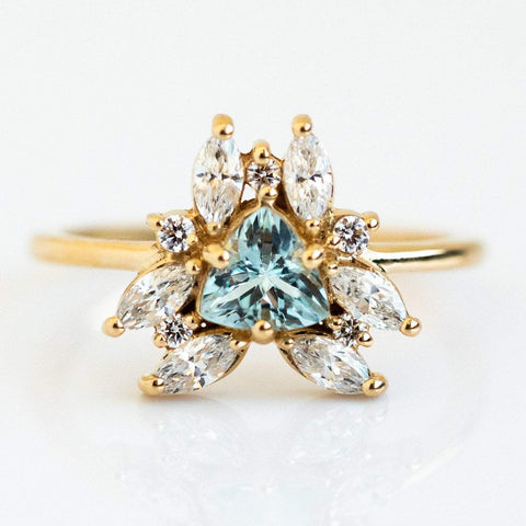 Layla Aquamarine Ring in Yellow Gold - rings - Emi Conner local eclectic