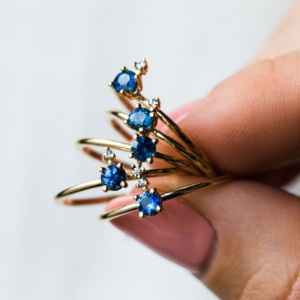 Ella Blue Sapphire and Diamond Ring