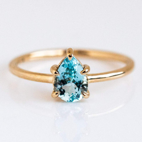 Simple Dainty Solid Yellow Gold Pear Shaped Aquamarine Ring