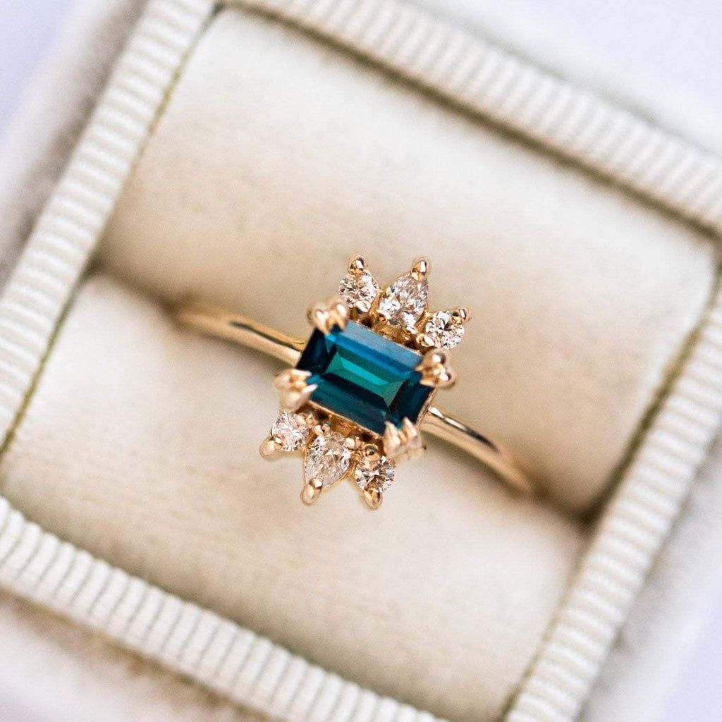 London Blue Topaz Vintage Inspired Mini Cocktail Solid Yellow Gold Ring Diamond Crown