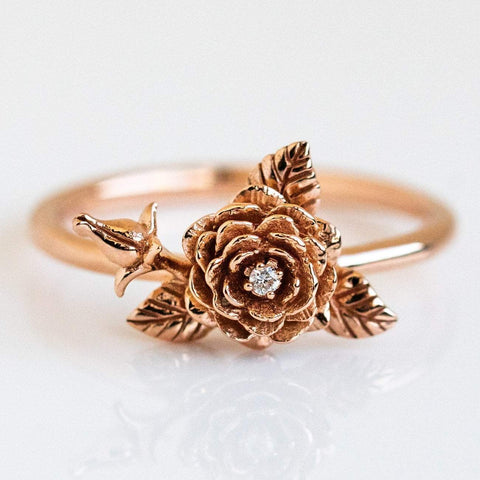 14k Solid Rose Gold Rose Flower Diamond Floral Inspired Fine Ring