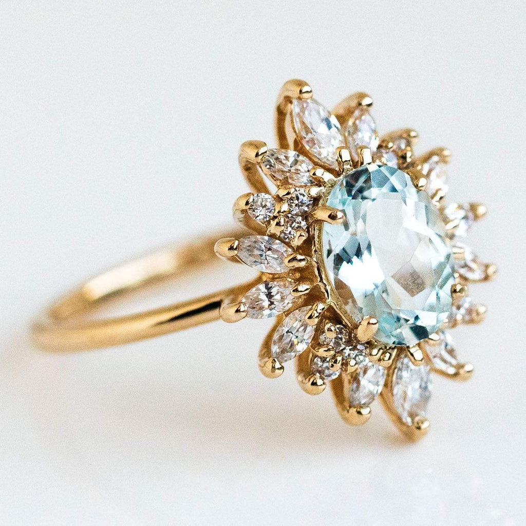 Natural Sky Blue Aquamarine Marquise Cut CZ Statement Solid Yellow Gold Ring