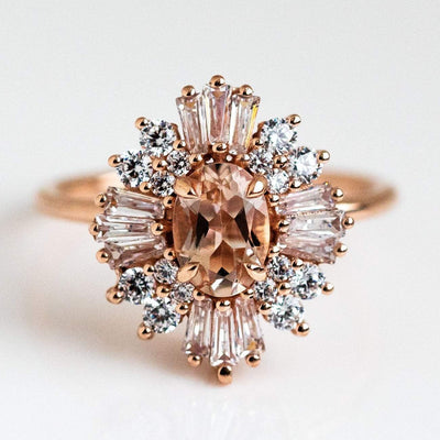 Solid Rose 14k Gold Vintage Art Deco Inspired Statement Ring Morganite