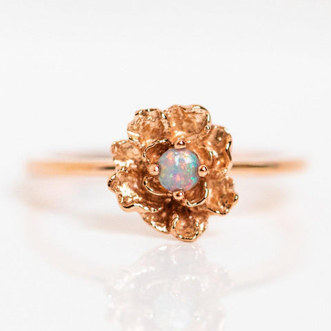 peony ring with opal unique floral inspired rose gold jewelry dainty rings