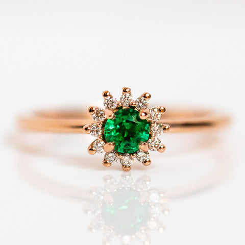 anabell ring with emerald and diamond dainty rose gold unique jewelry
