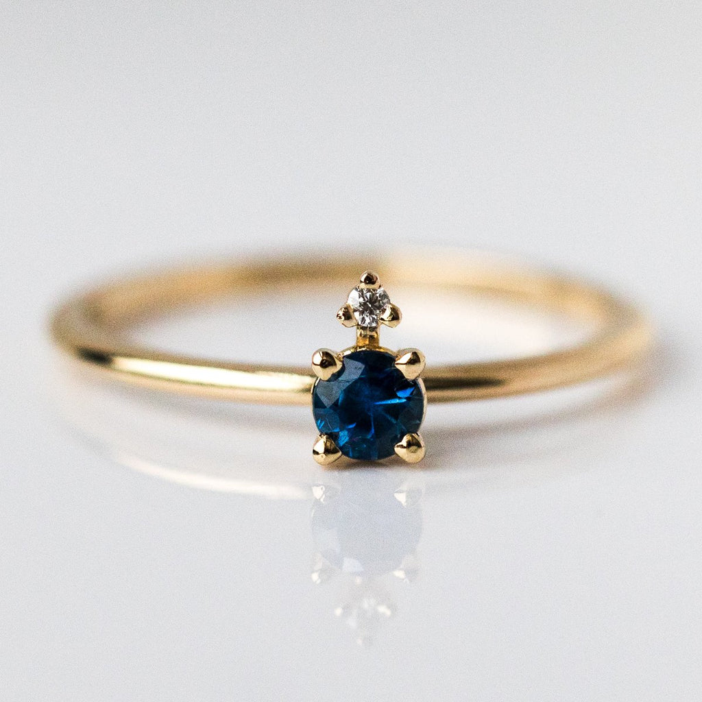 Ella Blue Sapphire and Diamond Ring - rings - Emi Conner local eclectic