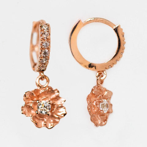 peony dangle hoop earrings cz dainty rose gold floral inspired huggie earrings