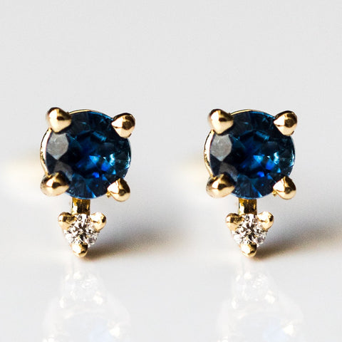 Tiny Two Stone Blue Sapphire & Diamond Stud Earrings - earrings - Emi Conner local eclectic
