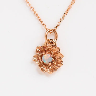 peony necklace with opal unique floral inspired rose gold jewelry