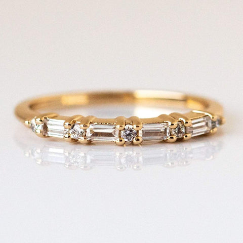 Multi Gem Baguette CZ Stacking Ring