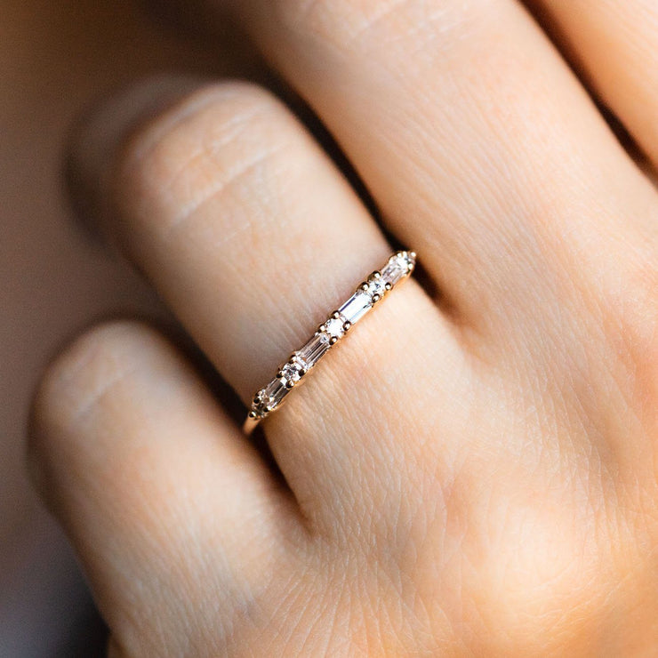 Simple Baguette CZ Gold Ring Band
