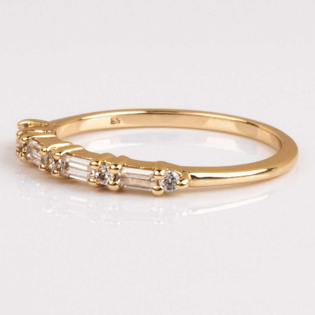 Baguette CZ Gold Stacking Ring