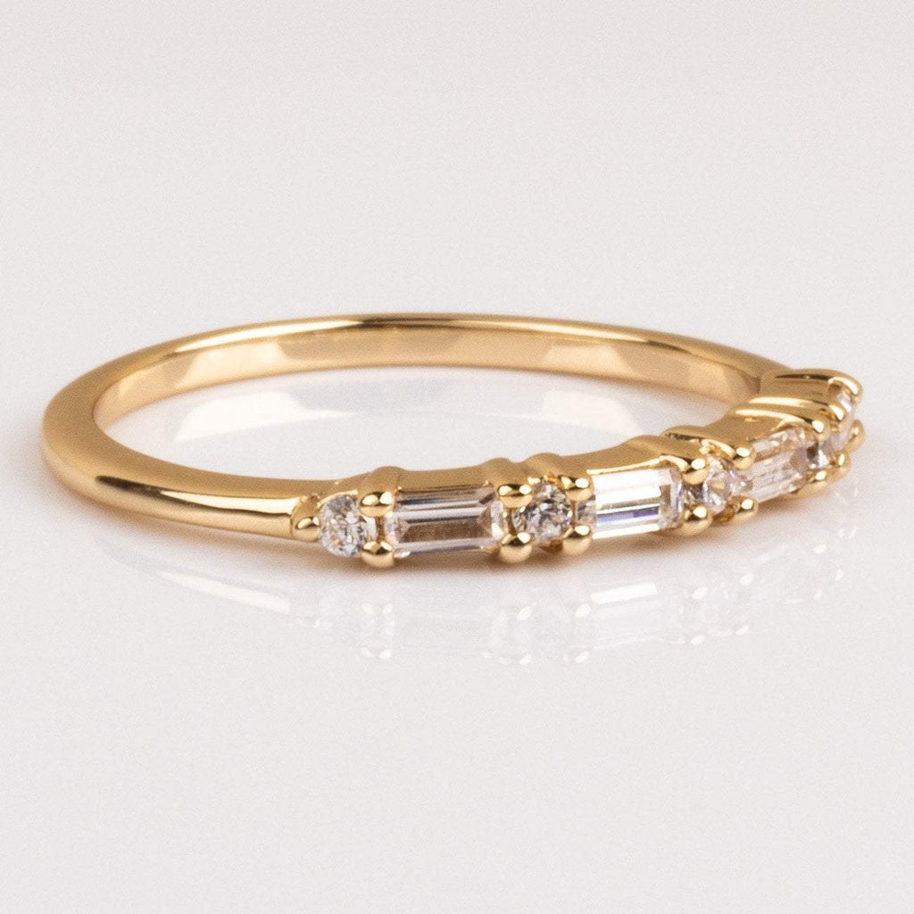 Dainty Baguette CZ Gold Ring Band