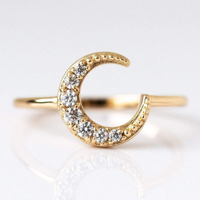 CZ Gem Gold Moon Ring