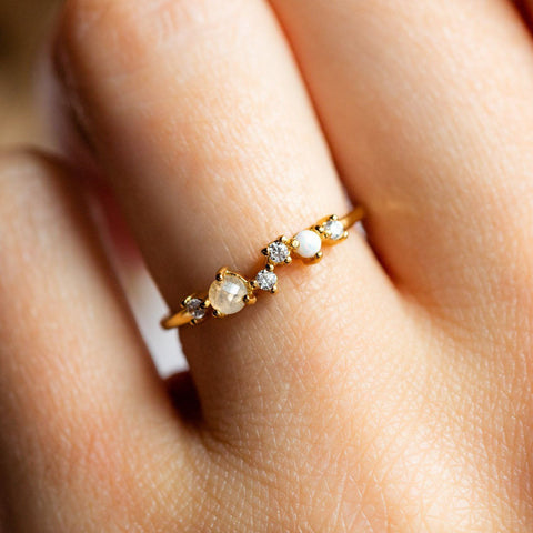 Moonstone, Opal, and cubic zirconia dainty gold stacking ring