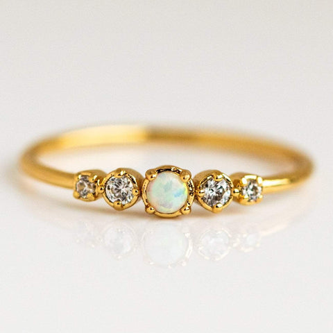 Opal and Diamond Gold Dainty Ring