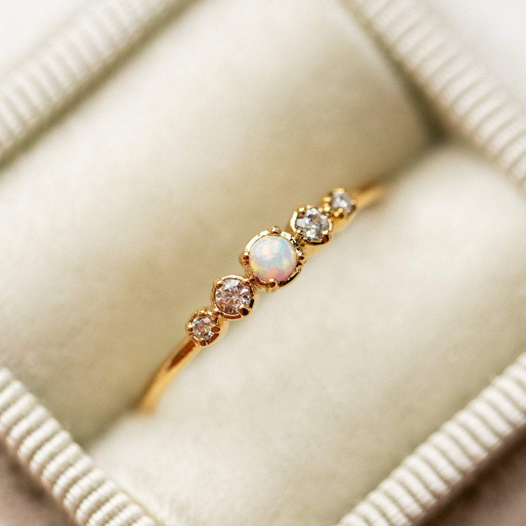 Cute Simple Opal and Diamond Gold Ring opal jewelry