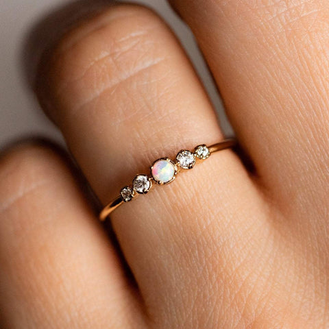 Opal and Diamond Gold Dainty Ring opal jewelry