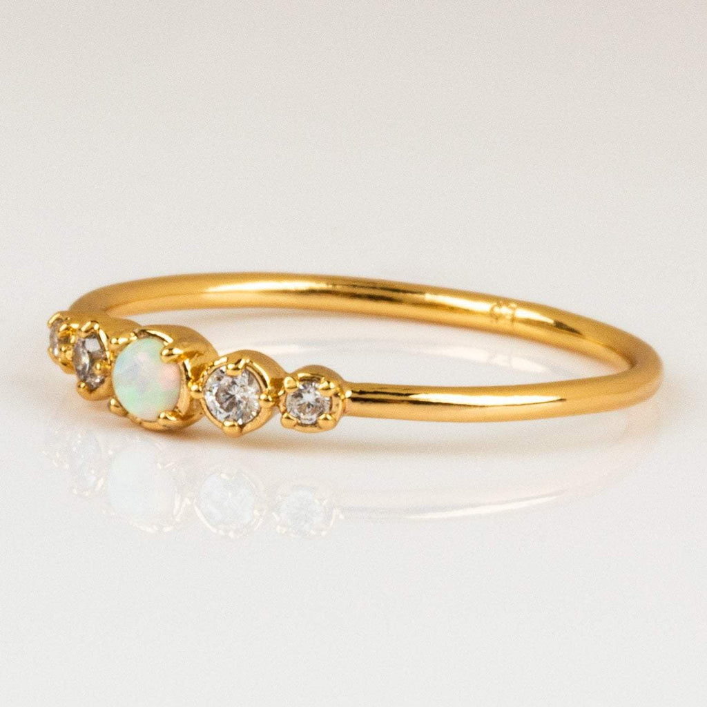 Cute Simple Opal and Diamond Gold Ring