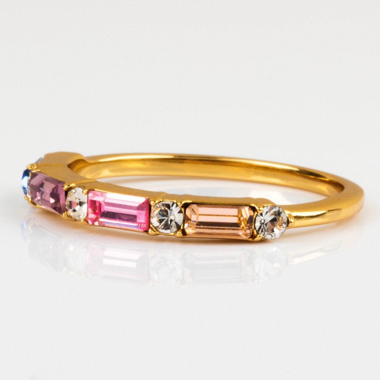 79eb023d42232 Cotton Candy Multi Gem Baguette Stacking Ring