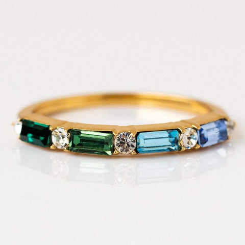 Sea Siren Multi Gem Baguette Stacking Ring