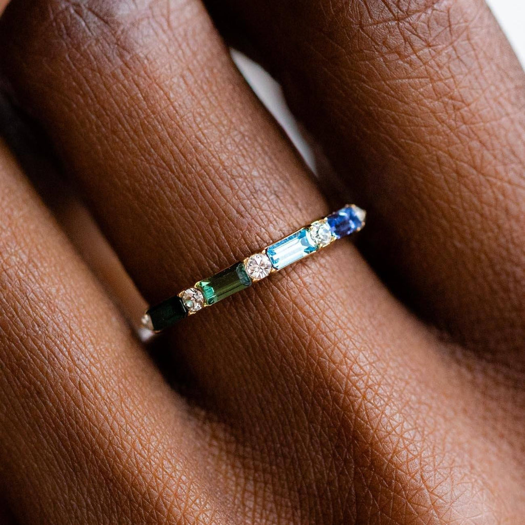 Colored Swarovski Baguette Gem Stacking Gold Ring