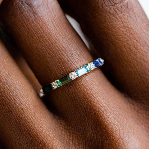 Multi Gem Colored Swarovski Gold Baguette Stacking Ring