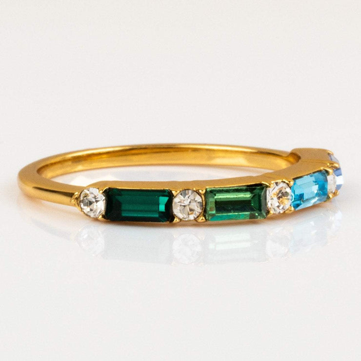 Multi Gem Swarovski Baguette Stacking Gold Ring