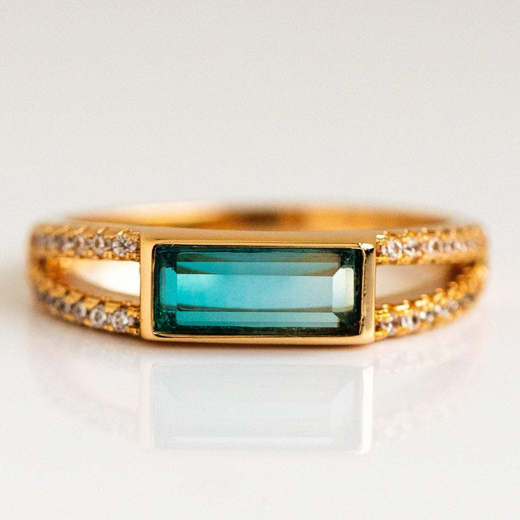 Emerald Cut Blue Tourmaline Gold Ring with Diamonds