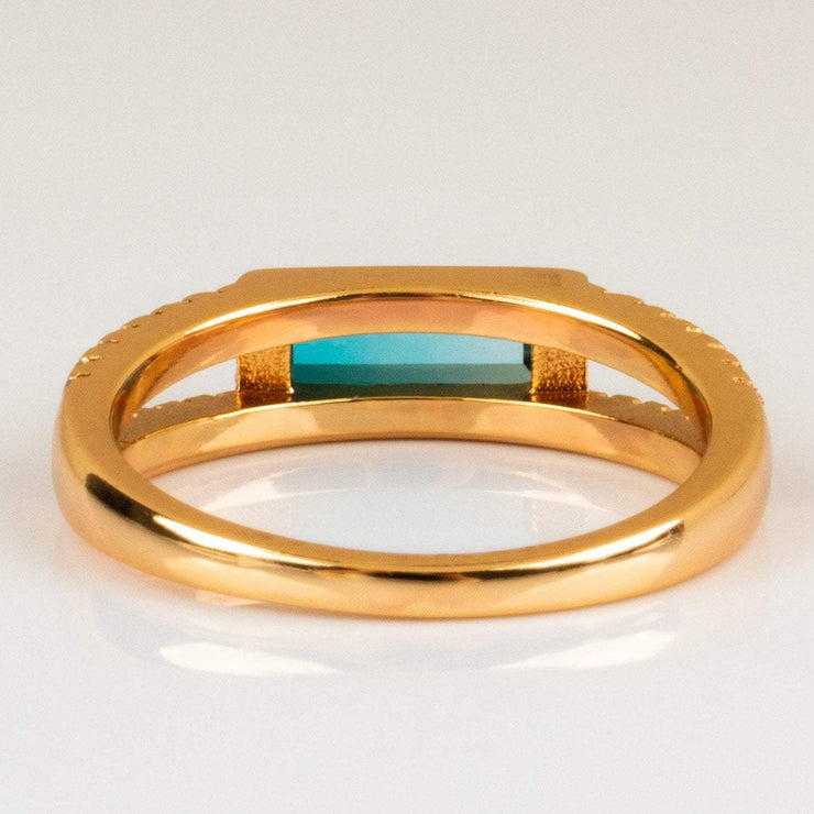Blue Tourmaline Baguette Diamond Gold Ring