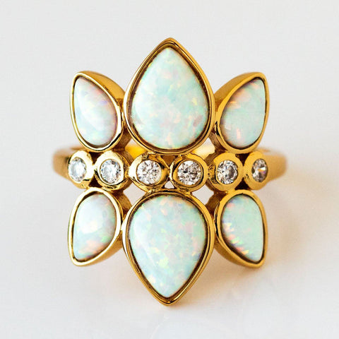 Teardrop Opal CZ Deco Statement Ring Yellow Gold Elizabeth Stone