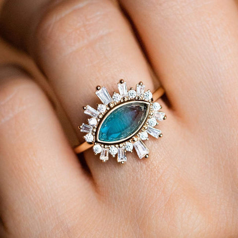 Blue Tourmaline Eye Ring Shimmering CZ Statement