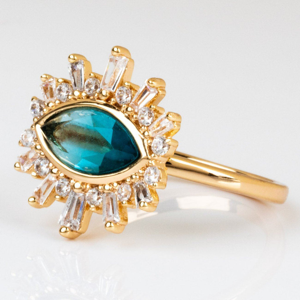 Eye Ring Blue Tourmaline Elizabeth Stone CZ