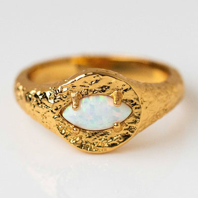 Signet Ring Opal Textured Chunky Statement Ring Yellow Gold Jewelry