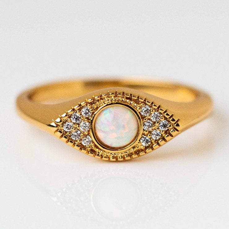 Evil Eye Signet Ring CZ Opal Gemstone Statement Yellow Gold Ring
