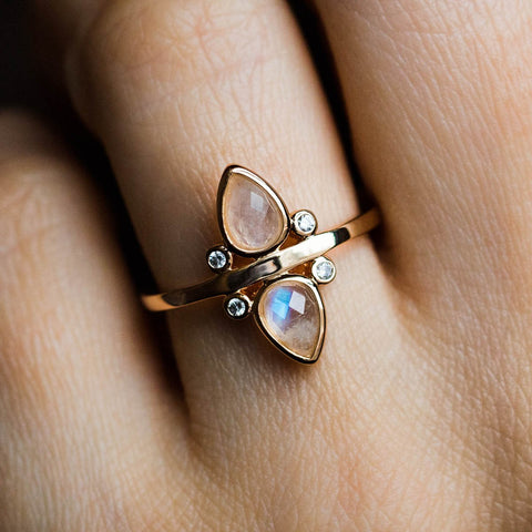 Gemstone Teardrop Ring with Moonstone - rings - Elizabeth Stone local eclectic